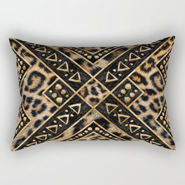 Leopard Fur with Ethnic Ornaments #2 Rectangular Pillow