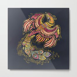 Watercolor Phoenix bird Metal Print