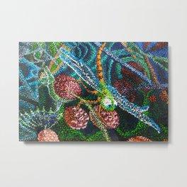 Dragonfly on Raspberries Metal Print