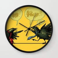 politics Wall Clocks featuring Bird Politics by Aimee Cozza