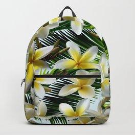 Plumeria on Palm Leaves Backpack