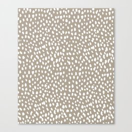 White on Dark Taupe spots Canvas Print