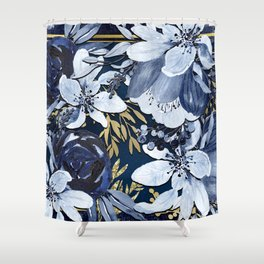 Navy Blue & Gold Watercolor Floral Shower Curtain