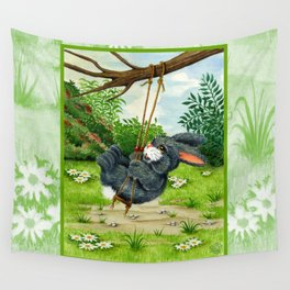 RABBIT ON A SWING Wall Tapestry