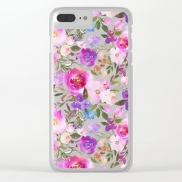 Elegant blush pink violet lavender watercolor summer floral Clear iPhone Case