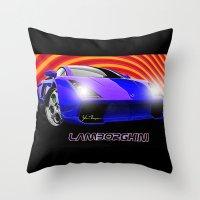 lamborghini Throw Pillows featuring Lamborghini Gallardo (2) by JT Digital Art