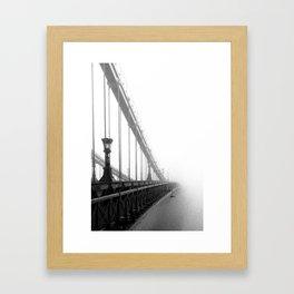Bridge lost in fog Black and White Framed Art Print
