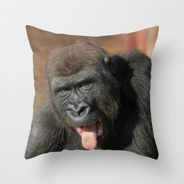 Gorilla Lope Showing His Tongue Throw Pillow