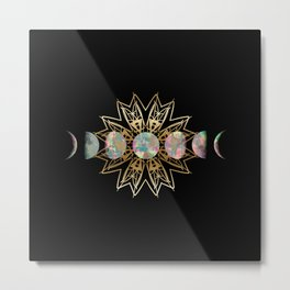 Opal Moon and Gold Stars Metal Print