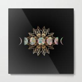 Opal Moon and Gold Stars Metal Print