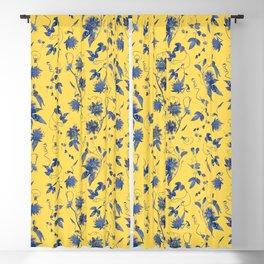 Elegant Blue Passion Flower on Mustard Yellow Blackout Curtain