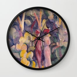 August Macke - Couple On The Forest Track Wall Clock