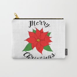 Merry Christmas Poinsettia Carry-All Pouch
