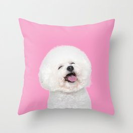Laughing Puppy Throw Pillow