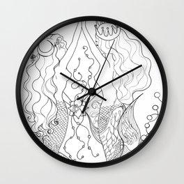 Two mermaids, many pearls Wall Clock
