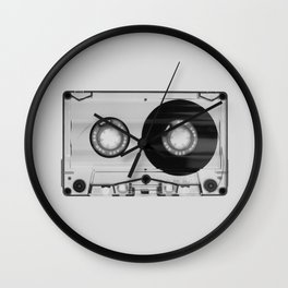 Vintage 80's Cassette - Black and White Retro Eighties Technology Art Print Wall Decor from 1980's Wall Clock