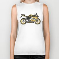 honda Biker Tanks featuring Honda CBR1000 & Old Newspapers by Larsson Stevensem