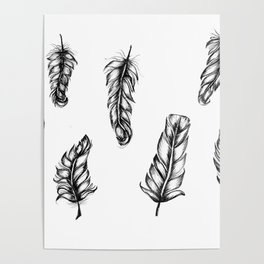 Inked Feather Pattern Poster