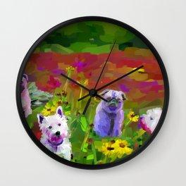 Puppy garden Wall Clock