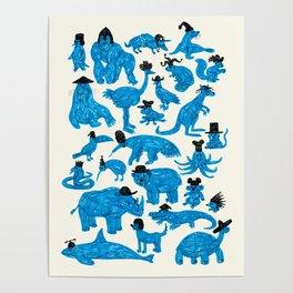 Blue Animals Black Hats Poster
