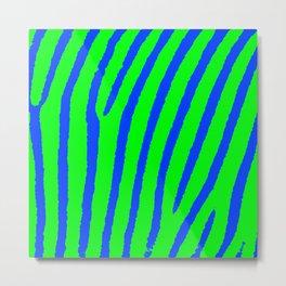 Zebra Print (Green & Blue) Metal Print