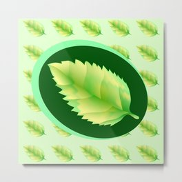 Green leaf of the tree. Leaf linden or apple for background or a logo or a pattern. Metal Print