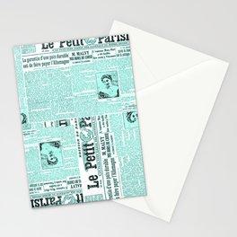 French Newspaper Monogram Stationery Cards