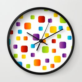 Rainbow of colorful rounded squares Wall Clock