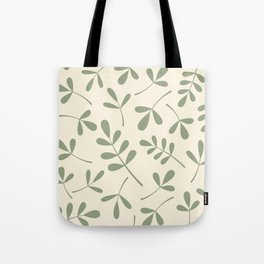 Green on Cream Assorted Leaf Silhouettes Tote Bag