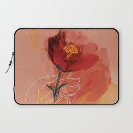 Hand Holding Flower Laptop Sleeve