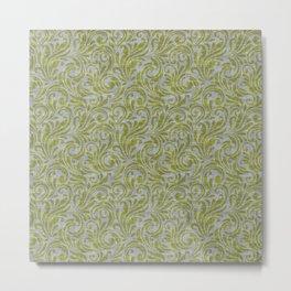 Leaf Scroll Green/Gray Metal Print