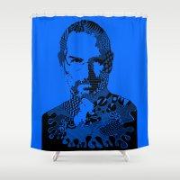steve jobs Shower Curtains featuring Steve Jobs blue by Rebecca Bear