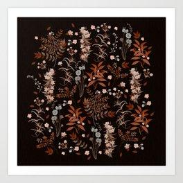 Vintage Autumn Florals on Dark Background Art Print