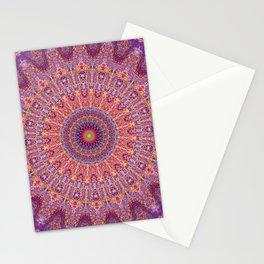 Purple Orange Red Burst Mandala 012018 Stationery Cards