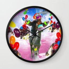 Sloth Riding Alpaca With Sundae And Jelly Beans Wall Clock