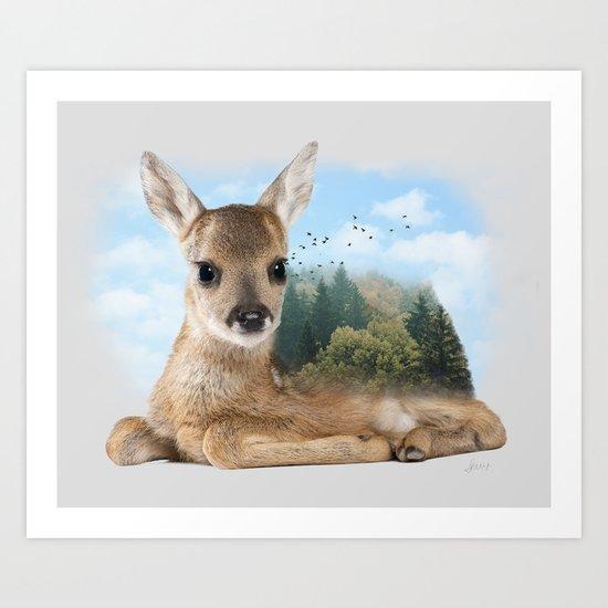Baby Roe Deer Art Print