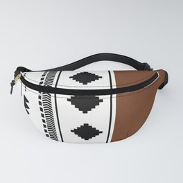 Southwestern white with faux leather texture Fanny Pack