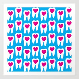 Teeth pattern with hearts in the center on blue background Art Print