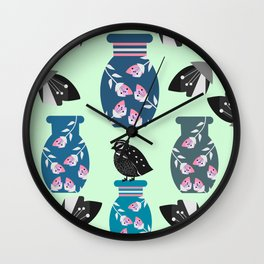 Quail, flowers and vases Wall Clock