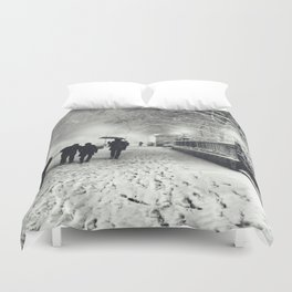New York City Snow Bryant Park Duvet Cover