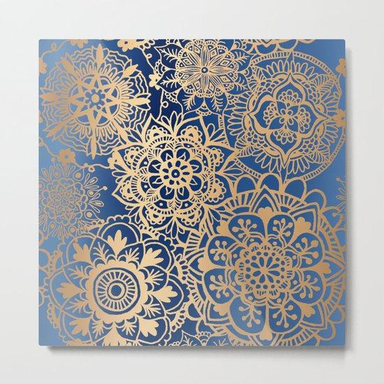 Blue and Gold Mandala Pattern Metal Print