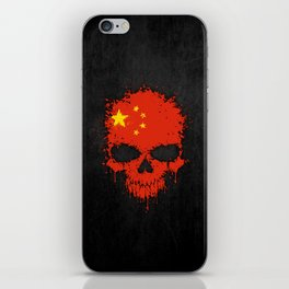 Flag of China on a Chaotic Splatter Skull iPhone Skin