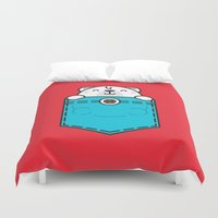 pocket fuel Duvet Covers featuring Pocket Polar by Steven Toang
