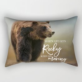 Grizzly On The Rocks Rectangular Pillow