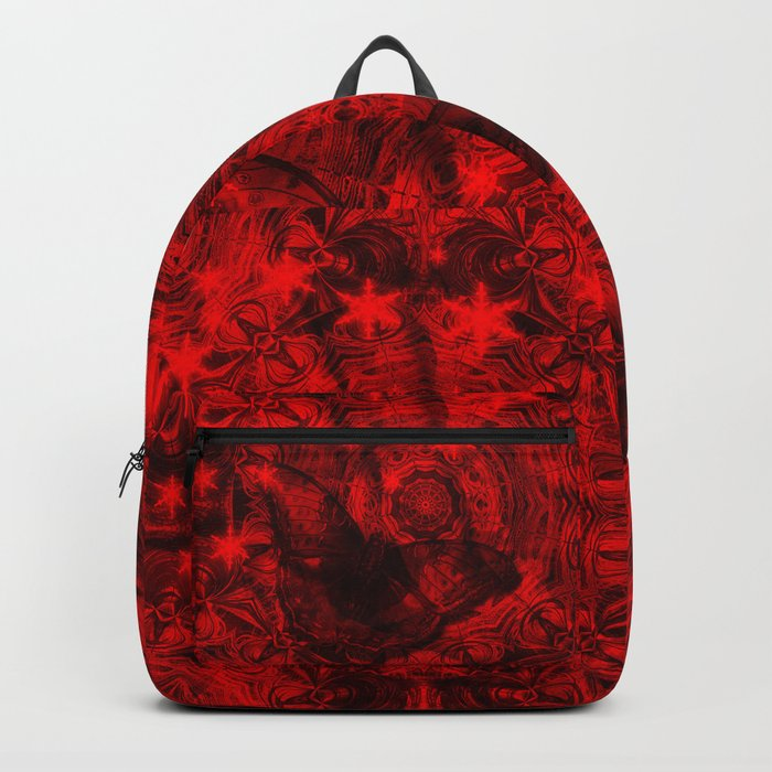 Butterfly and fractal in black and blood red Backpack