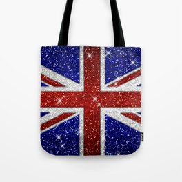 Glitters Shiny Sparkle Union Jack Flag Tote Bag