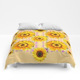 CREAM COLOR WESTERN STYLE YELLOW SUNFLOWERS Comforters