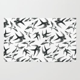 Swooping Swallows in Black & White Rug
