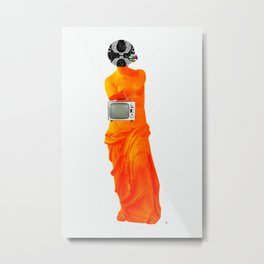 Statue Life TV · Oranje Metal Print
