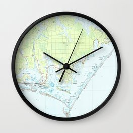 Cape Lookout National Seashore & Morehead City Map Wall Clock